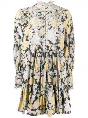 Платье мини с цветочным принтом byTiMo. Цвет: желтый