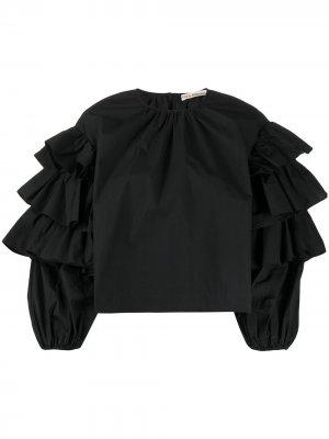 Блузка Tulia с оборками на рукавах Ulla Johnson. Цвет: черный