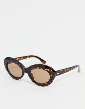 Овальные черепаховые солнцезащитные очки -Коричневый цвет AJ Morgan