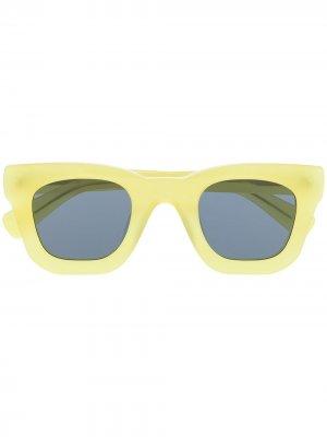 Солнцезащитные очки в квадратной оправе Brain Dead. Цвет: желтый