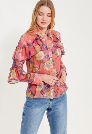 Блуза Lost Ink Petite FLORAL RUFFLE PRINTED SHIRT. Цвет: разноцветный