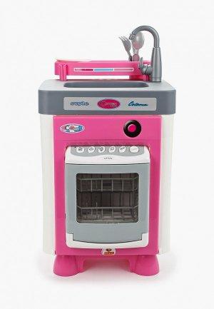 Набор игровой Polesie Carmen №1 с посудомоечной машиной (в пакете) (со звуком и каплями воды). Цвет: розовый