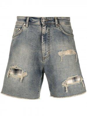 Джинсовые шорты с эффектом потертости Represent. Цвет: синий