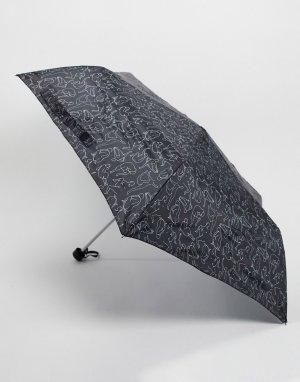Черный зонт с принтом Monki