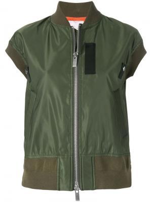 Куртка-бомбер с короткими рукавами Sacai. Цвет: зеленый