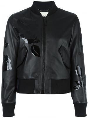 Куртка-бомбер с цветочным принтом Fendi. Цвет: чёрный