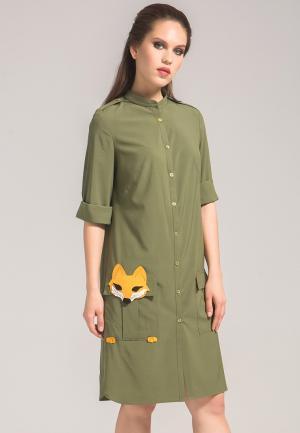Платье YuliaSway Yulia'Sway. Цвет: хаки