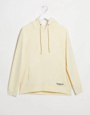Худи желтого цвета с логотипом -Желтый Abercrombie & Fitch