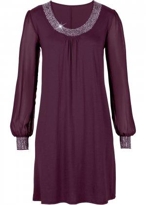 Платье с аппликациями из стразов bonprix. Цвет: лиловый