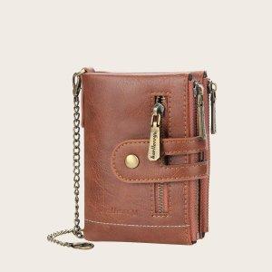 Мужской винтажный кошелек с цепным ремешком SHEIN. Цвет: коричневые