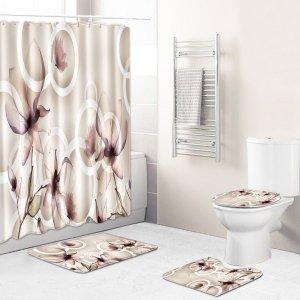 1шт Коврик для ванной или занавеска душа с цветочным принтом SHEIN. Цвет: многоцветный