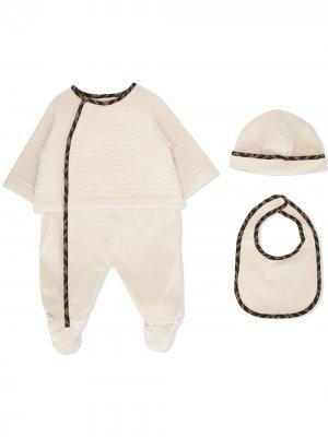 Комплект для новорожденного с логотипом FF Fendi Kids. Цвет: коричневый