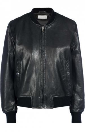 Кожаный бомбер на молнии с карманами Isabel Marant Etoile. Цвет: черный