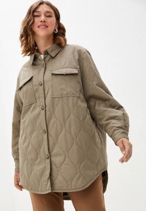Куртка утепленная Vero Moda Curve. Цвет: бежевый