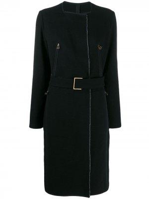 Пальто миди 2003-го года с поясом LANVIN Pre-Owned. Цвет: черный