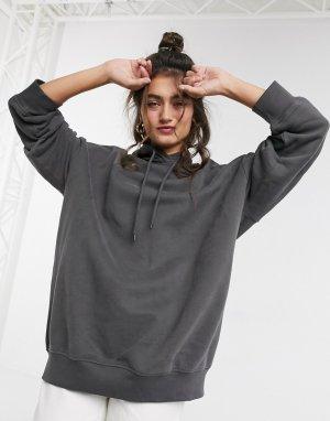 Свободный худи темно-серого цвета -Серый Monki