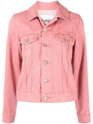 Washed denim jacket GANNI. Цвет: розовый