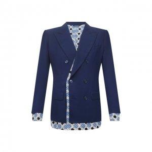 Хлопковый пиджак Dolce & Gabbana. Цвет: синий