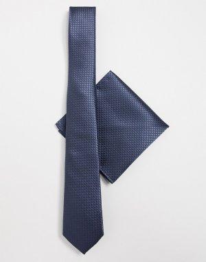 Галстук и платок для пиджака -Темно-синий Harry Brown