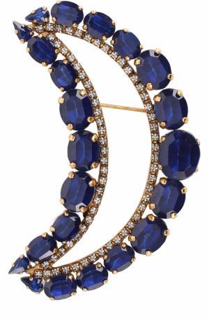 Брошь с кристаллами Swarovski Erickson Beamon. Цвет: синий