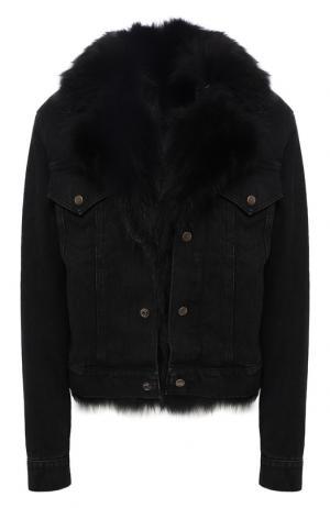 Джинсовая куртка с меховой подстежкой Saint Laurent. Цвет: черный