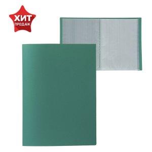 Папка а4, 60 прозрачных вкладышей, 500 мкм, calligrata, песок, зелёная Calligrata