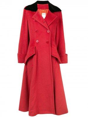 Длинное двубортное расклешенное пальто Céline Pre-Owned. Цвет: красный