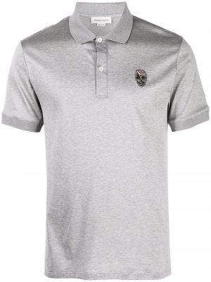 Рубашка поло с вышивкой Alexander McQueen. Цвет: серый