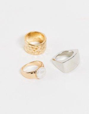 Набор колец из разных металлов с искусственным жемчугом -Золотистый Accessorize