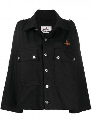 Джинсовая куртка с вышитым логотипом Vivienne Westwood Anglomania. Цвет: черный
