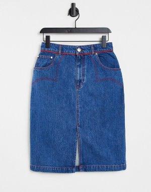 Джинсовая юбка в стиле вестерн -Голубой House of Holland
