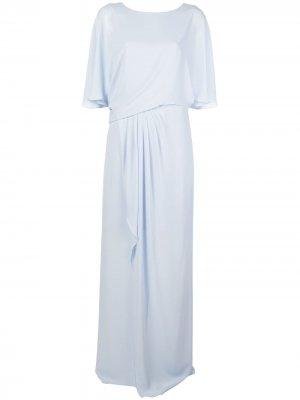Драпированное длинное платье Halston Heritage. Цвет: синий