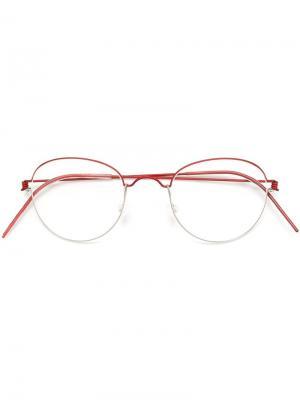 Оптические очки в круглой оправе Lindberg. Цвет: красный