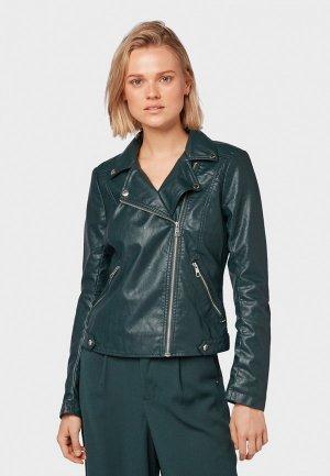 Куртка кожаная Tom Tailor Denim. Цвет: зеленый