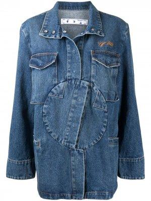 Джинсовая куртка с логотипом Off-White. Цвет: синий