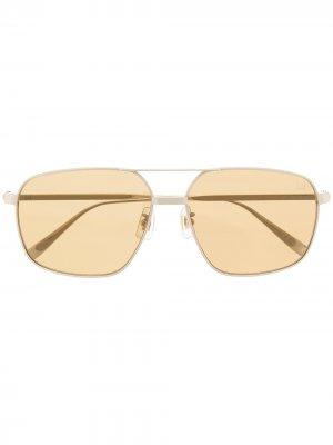 Солнцезащитные очки-авиаторы с двойным мостом Dunhill. Цвет: золотистый