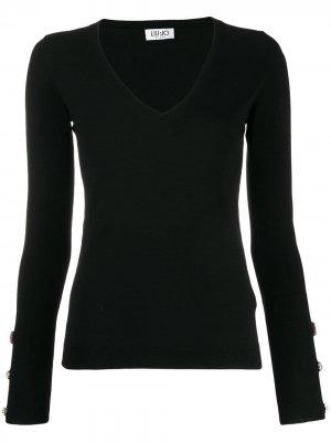 Декорированный пуловер с V-образным вырезом LIU JO. Цвет: черный