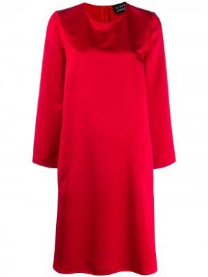 Платье-трапеция с длинными рукавами Gianluca Capannolo. Цвет: красный