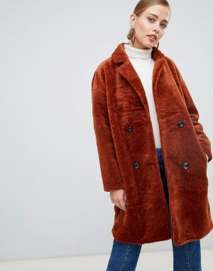 Пальто с двубортным эффектом -Медный Jayley