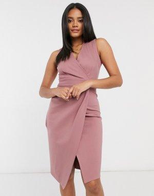 Розово-лиловое платье миди -Розовый Closet London