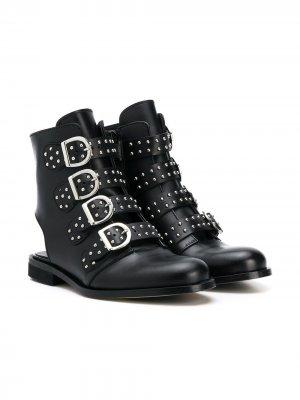 Ботинки с заклепками на ремешках Gallucci Kids. Цвет: черный