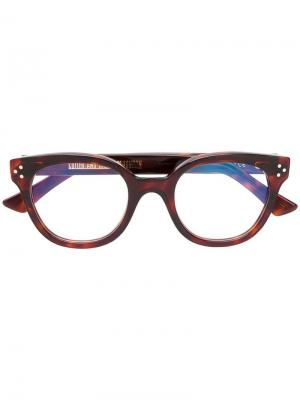 Очки в толстой оправе Cutler & Gross. Цвет: коричневый