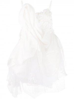 Свадебное платье асимметричного кроя со вставками Loulou. Цвет: нейтральные цвета