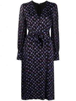 Платье с запахом и принтом Karl Lagerfeld. Цвет: черный