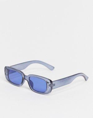 Прямоугольные солнцезащитные очки среднего размера в темно-синей оправе с голубыми линзами -Темно-синий ASOS DESIGN