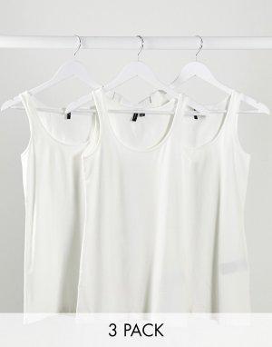Набор из 3 белых маек -Белый Vero Moda
