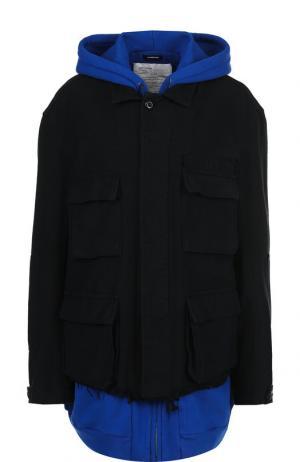 Хлопковый бомбер с контрастным капюшоном и накладными карманами R13. Цвет: черный