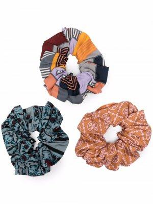 Набор из трех резинок для волос Tory Burch. Цвет: оранжевый