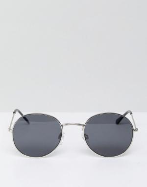 Круглые солнцезащитные очки в серебристой оправе с черными стеклами Bershka. Цвет: черный