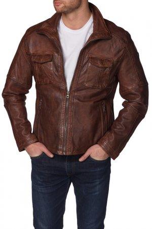 Кожаная куртка Gipsy. Цвет: коричневый